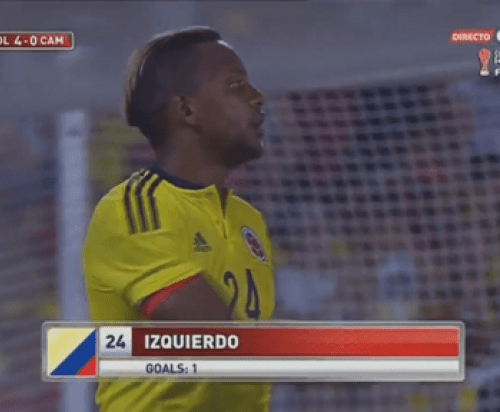 Izquierdo scores his first goal for Colombia